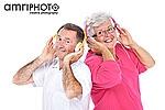 seniors with headphones