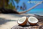 open coconut on tropical beach