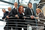 happy business team on staircase