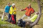 happy seniors at short hiking break