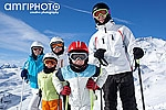 group of skiers in mountains