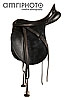 black saddle with stirrup