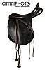 black saddle with stirrup