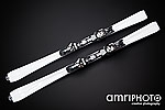white skis black background