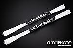 white skis black background