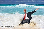 businessman in waves